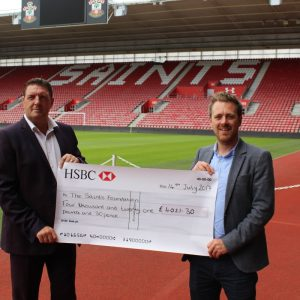 Meachers Global Logistics presents Saints Foundation with cheque