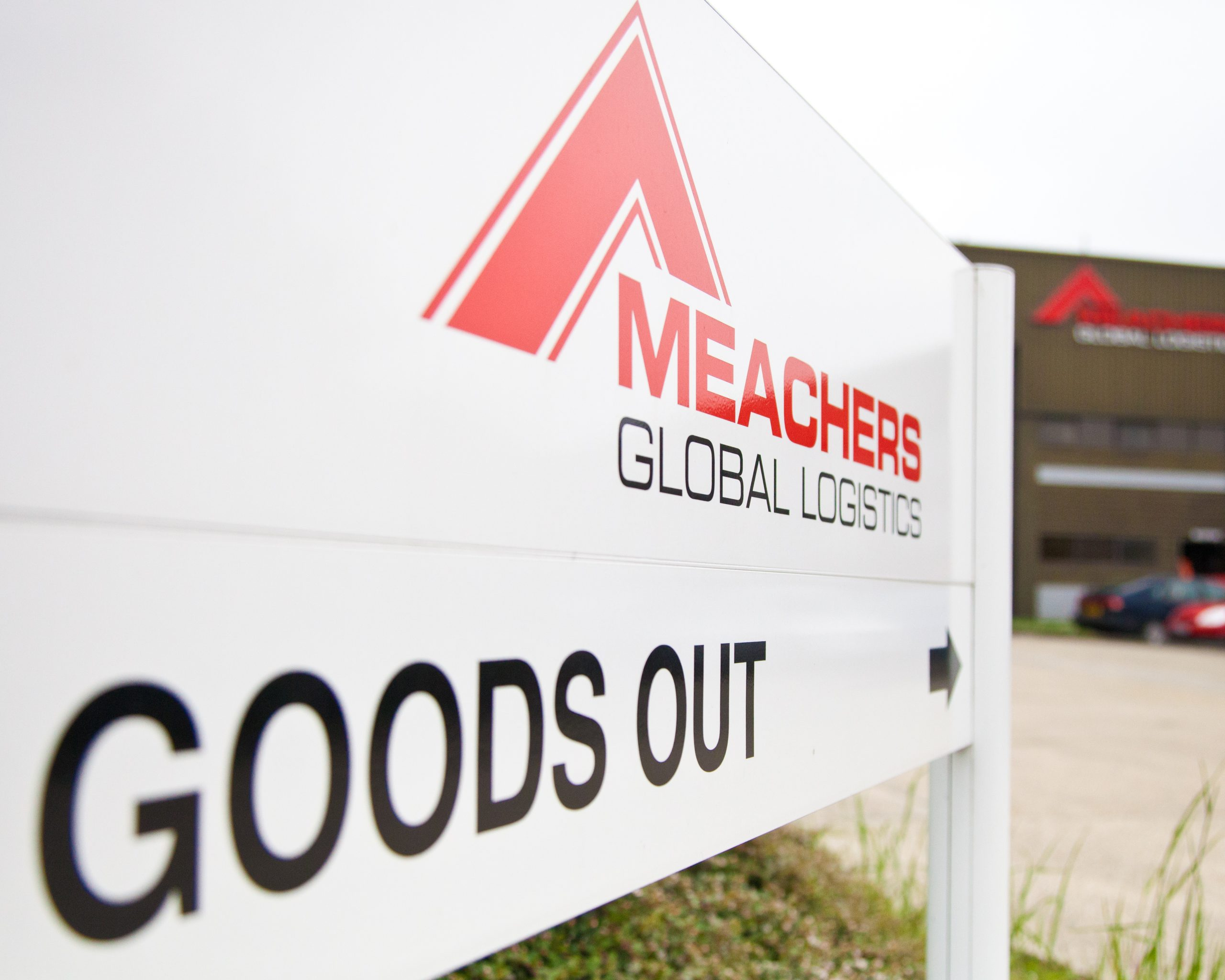Meachers Global Logistics Sign at Southampton Warehousing